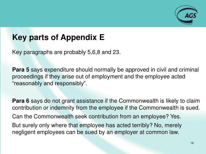 Key parts of Appendix E