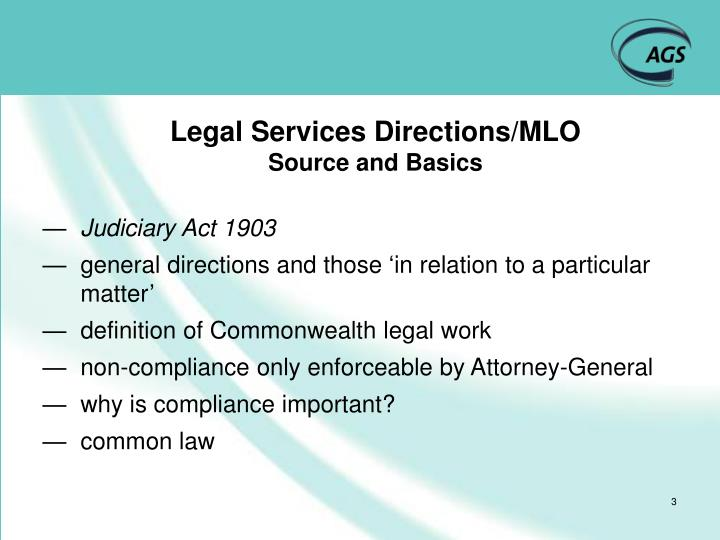 Legal services directions mlo source and basics
