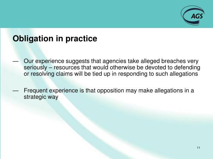 Obligation in practice