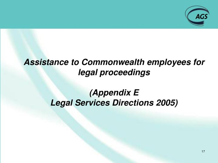 Assistance to Commonwealth employees for legal proceedings