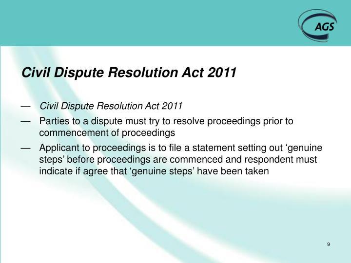 Civil Dispute Resolution Act