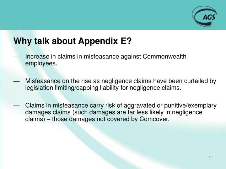 Why talk about Appendix E?
