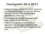 development aid is best