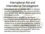 international aid and international development