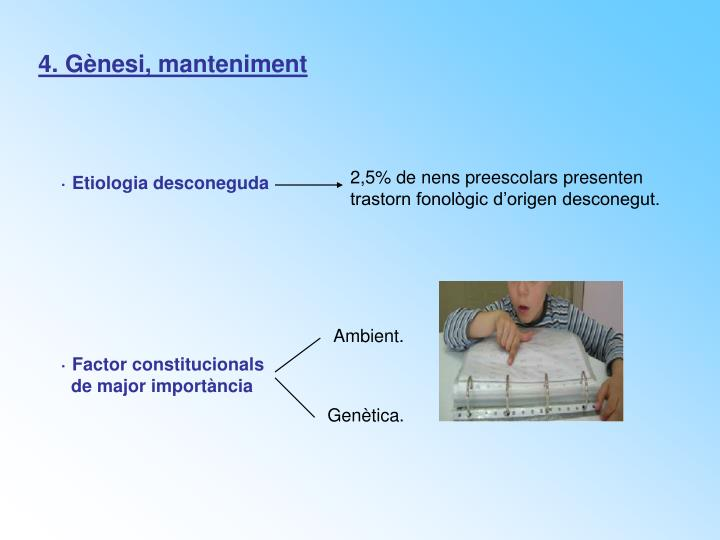 4. Gènesi, manteniment