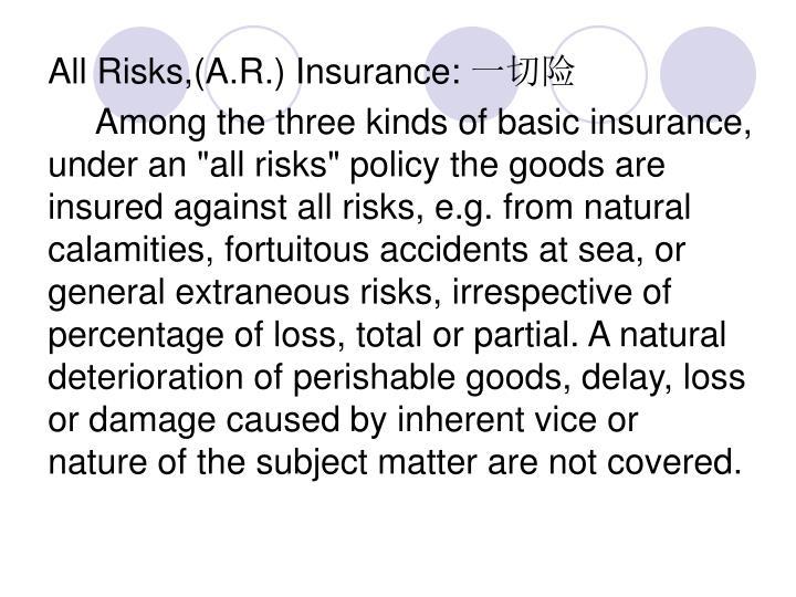 All Risks,(A.R.) Insurance: