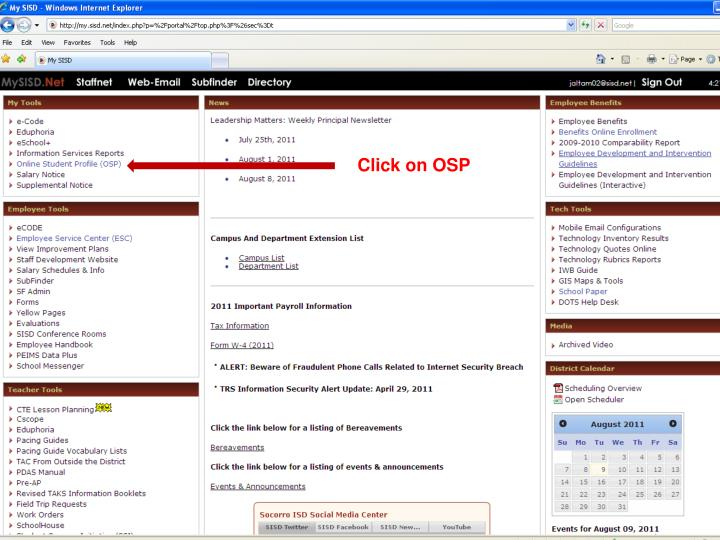 Click on OSP