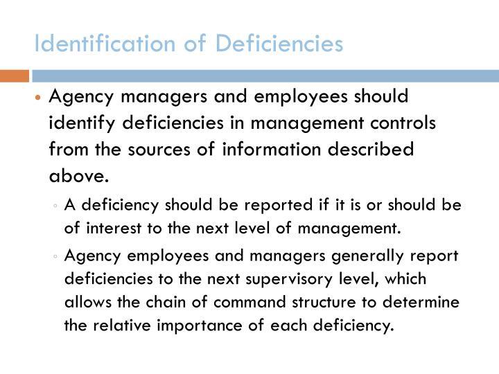 Identification of Deficiencies
