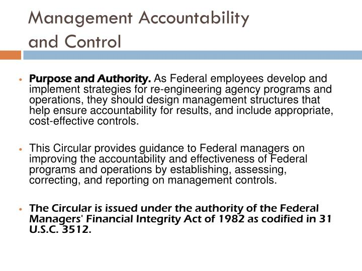 Management accountability and control1