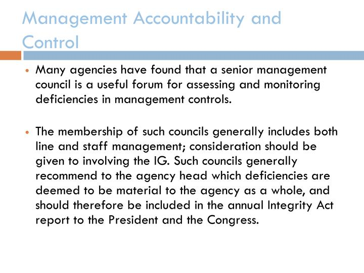 Management Accountability and Control