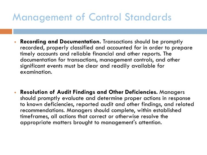 Management of Control Standards