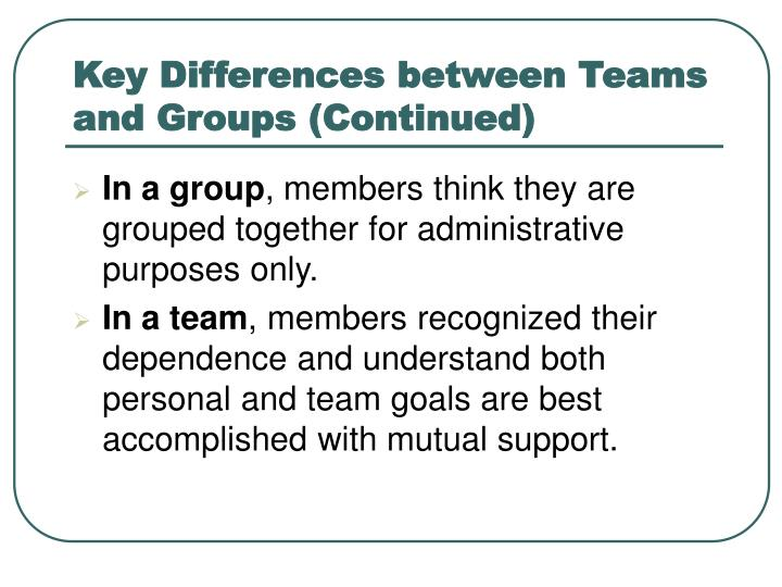 Key Differences between Teams and Groups (Continued)