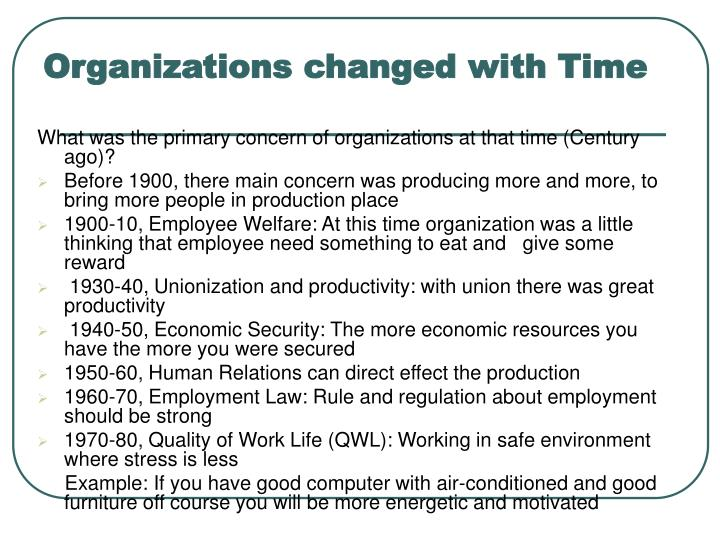 Organizations changed with Time