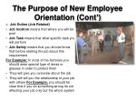 the purpose of new employee orientation cont