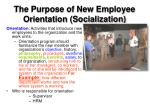 the purpose of new employee orientation socialization