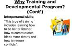 why training and developmental program cont