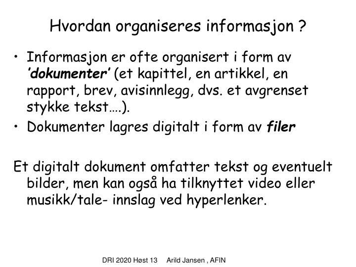 Hvordan organiseres informasjon ?