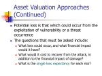 asset valuation approaches continued