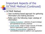 important aspects of the octave method continued
