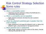 risk control strategy selection some rules