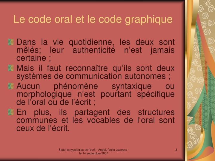 Le code oral et le code graphique
