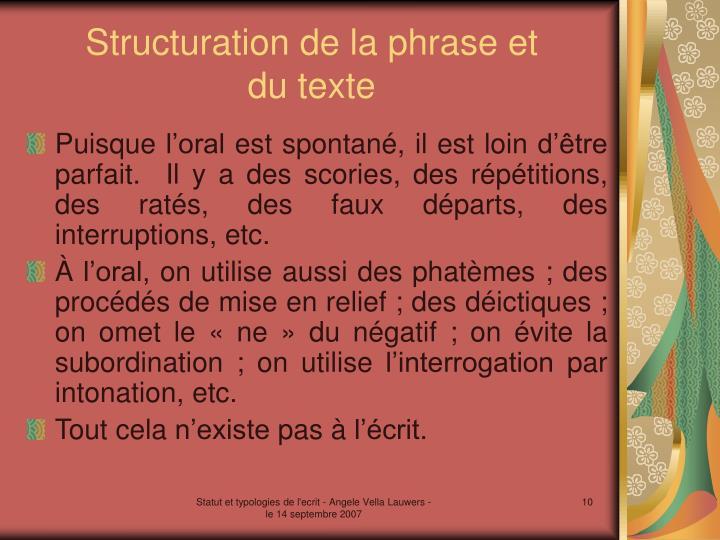 Structuration de la phrase et