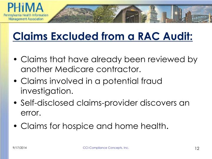 Claims Excluded from a RAC Audit: