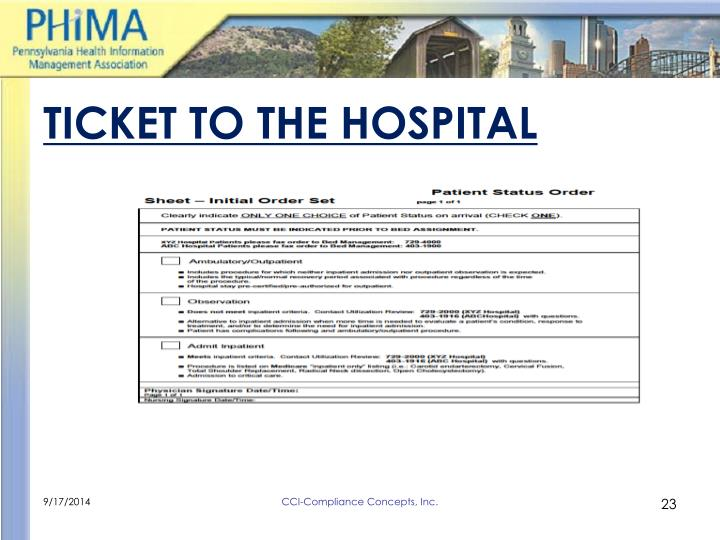 TICKET TO THE HOSPITAL