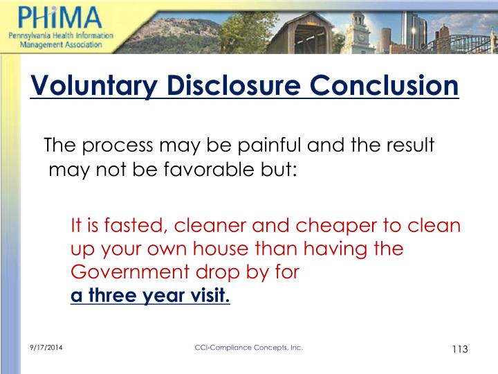 Voluntary Disclosure Conclusion