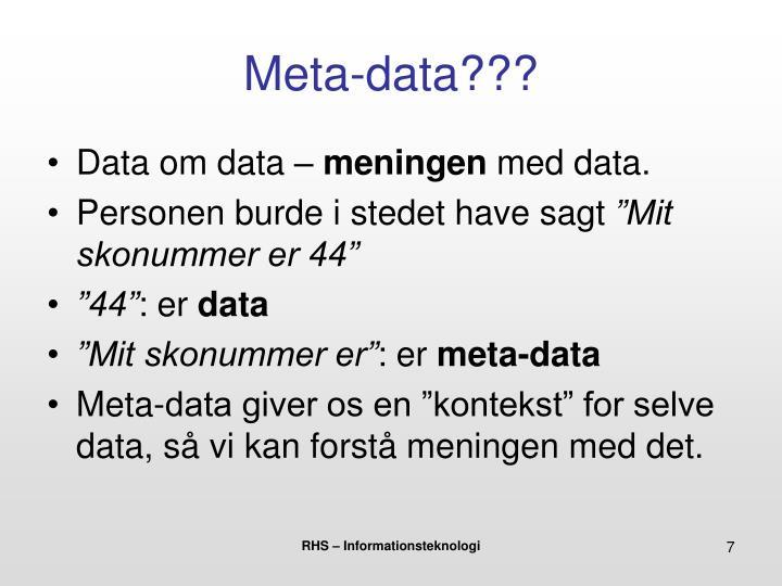 Meta-data???