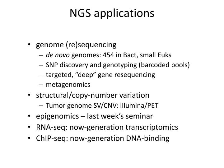NGS applications