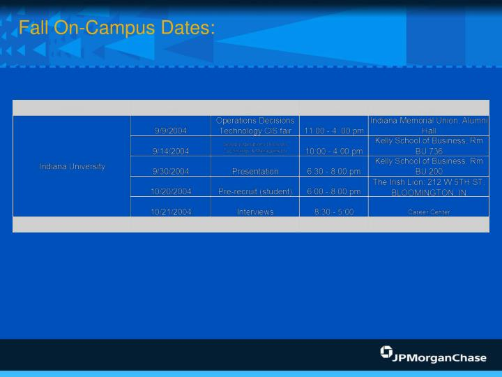 Fall On-Campus Dates: