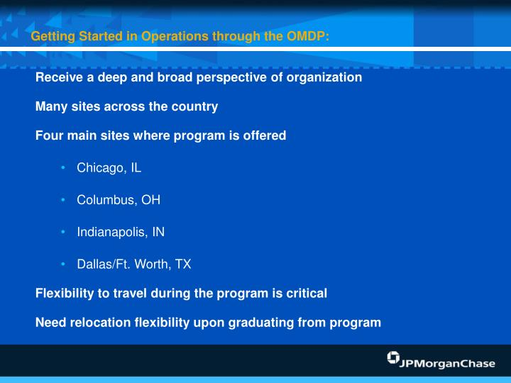 Getting Started in Operations through the OMDP: