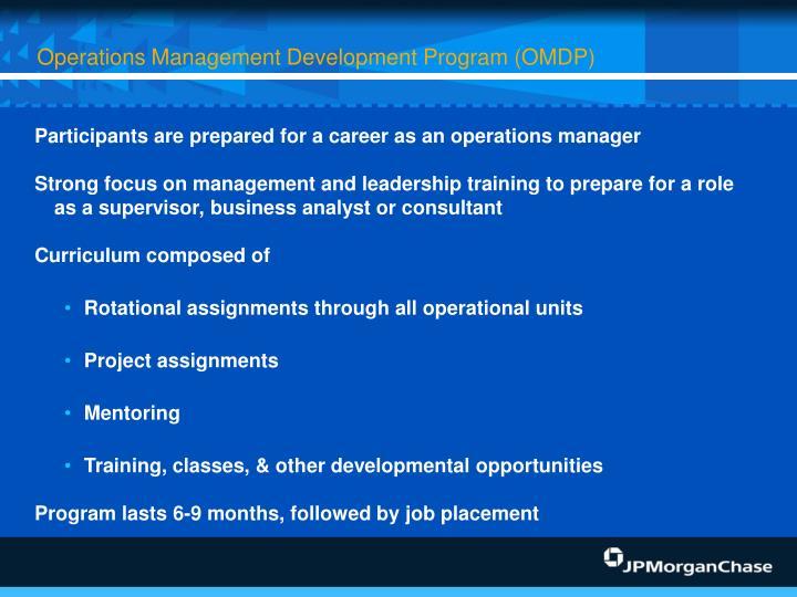 Operations Management Development Program (OMDP)