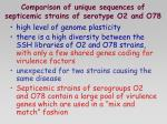 comparison of unique sequences of septicemic strains of serotype o2 and o78