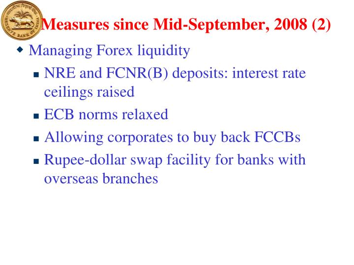 Measures since Mid-September, 2008 (2)