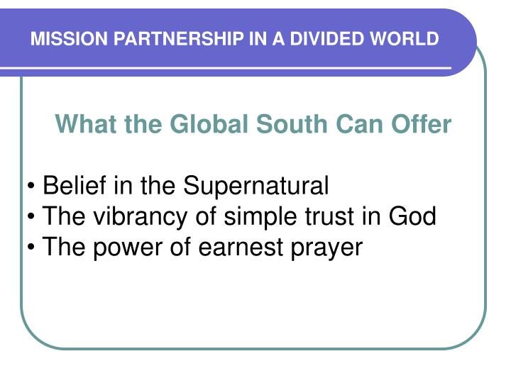 Mission partnership in a divided world1