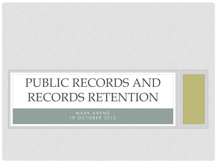 public records and records retention n.
