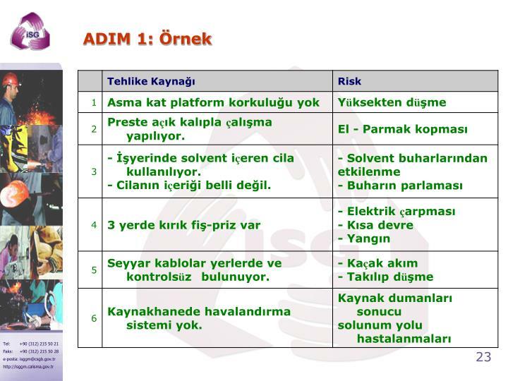 ADIM 1: Örnek
