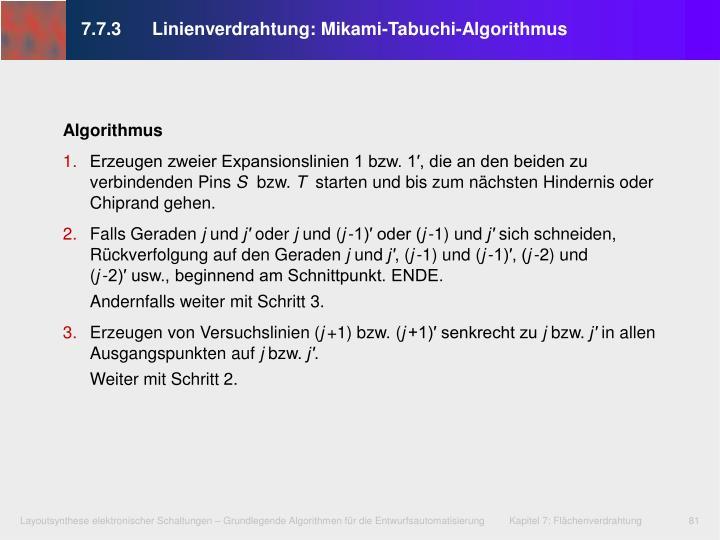 7.7.3Linienverdrahtung: Mikami-Tabuchi-Algorithmus