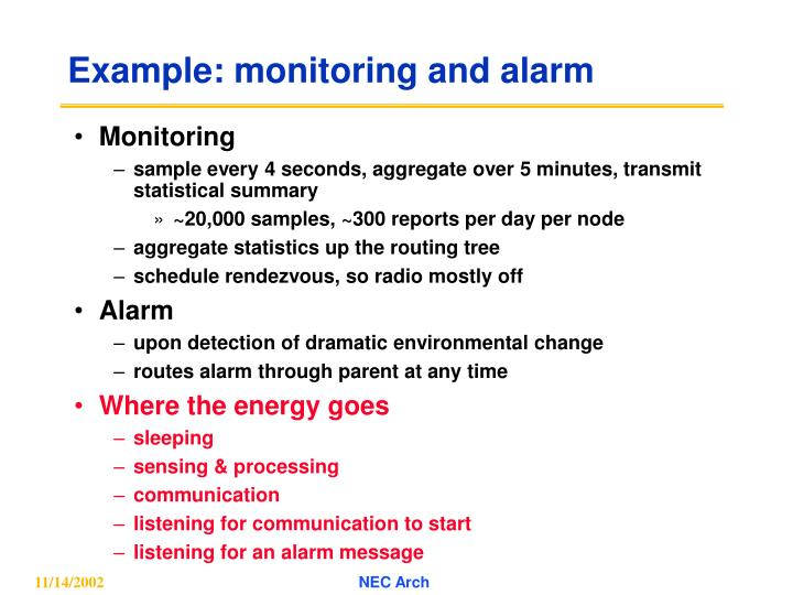 Example: monitoring and alarm