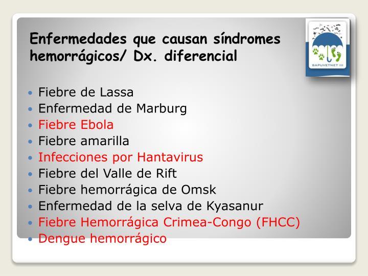 Enfermedades que causan síndromes hemorrágicos/