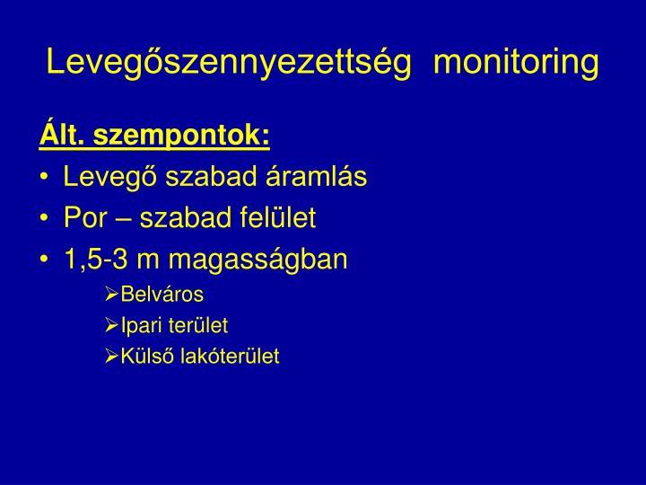 Levegőszennyezettség  monitoring