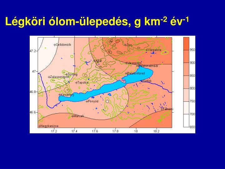 Légköri ólom-ülepedés, g km