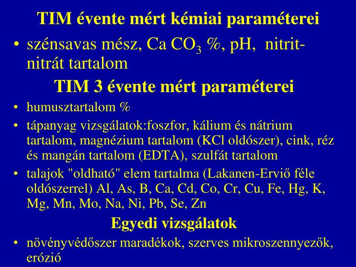 TIM évente mért kémiai paraméterei