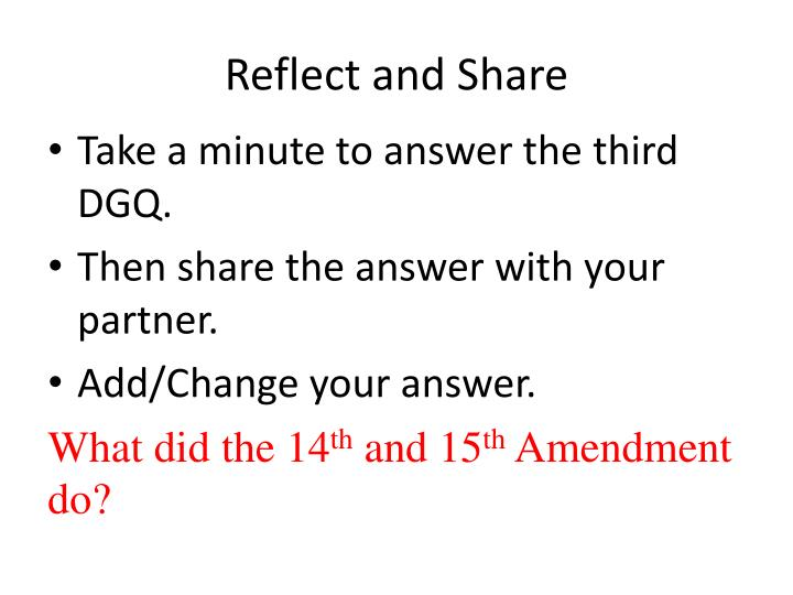 Reflect and Share