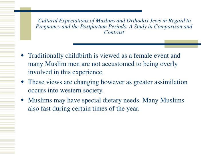 Cultural Expectations of Muslims and Orthodox Jews in Regard to Pregnancy and the Postpartum Periods: A Study in Comparison and Contrast