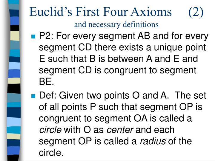 Euclid's First Four Axioms     (2)