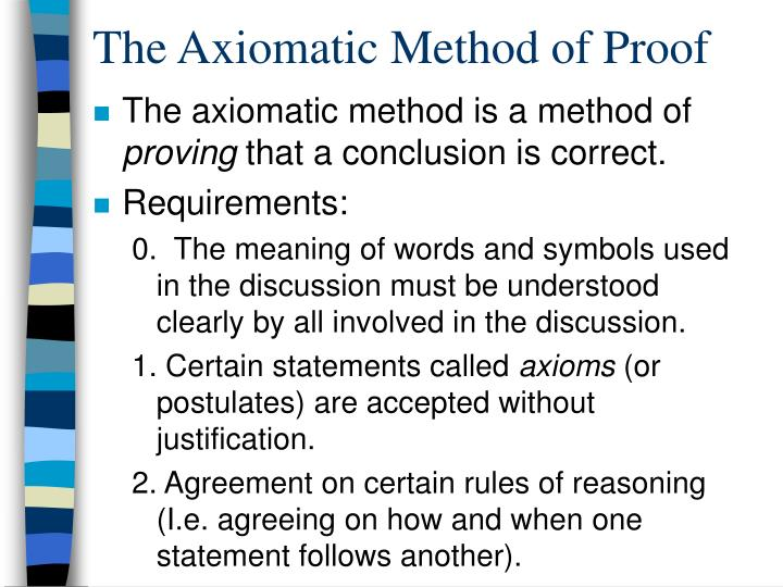 The axiomatic method of proof
