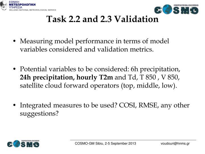 Task 2.2 and 2.3 Validation